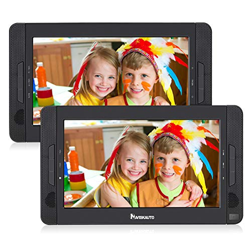 NAVISKAUTO 10.1' Dual Screen DVD Player Portable for Car with 5-Hour Built-in Rechargeable...