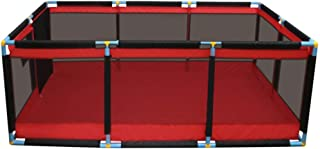 YEHL Playpen Portable Baby Toddler Red Playard Kid s Safety Activity Center Children s Game Fence with Door  Size 190x128cm