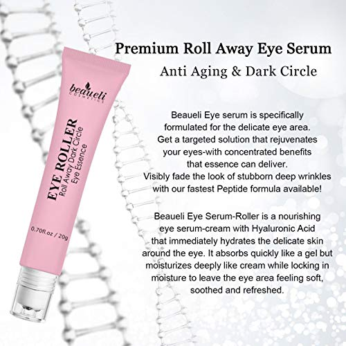 51jXaAEU5FL - Eye Serum & Eye Roller for Anti Aging Dark Circles Puffiness Under Eye Bags Wrinkles Eye Cream Massager with Peptide Hyaluronic Acid Niacinamide 0.7 fl.oz by beaueli