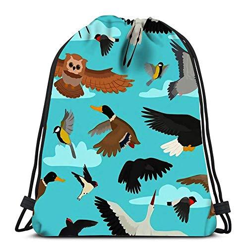 GeorgoaKunk Mochila con cordón Bolsas Pájaro de Dibujos Animados Flying Birdie Owl Paloma y Pato con alas de Plumas Set Bullfinch Sports Travel Yoga Gymsack