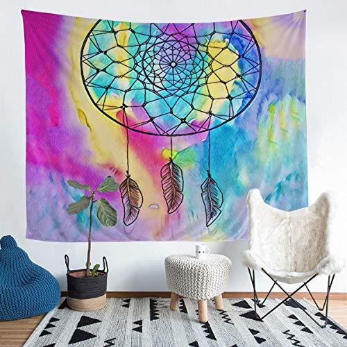 Tapiz de atrapasueños para colgar en la pared, diseño bohemio, atrapasueños para niños y niñas, con tinte de arco iris, colorido y lujoso arte de pared para dormitorio, sala de estar, 152 x 228 cm