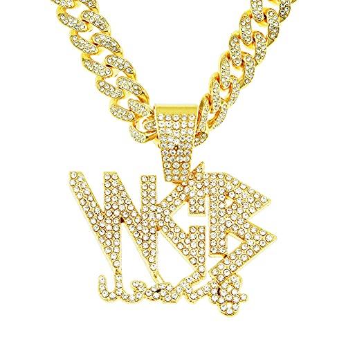 RXSHOUSH Hiphop Collar tridimensional con colgante de letra de diamante circón de 50 cm de oro/plata cubana cadena de hombres y mujeres, dorado