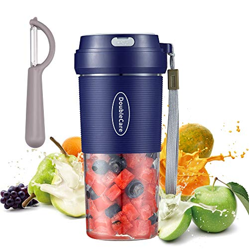 Licuadora portatil, mini licuadoras personales de 300 ml, taza exprimidora de mano para batidos y batidos, batidora recargable USB de 1400 mAh perfecta para frutas, alimentos para bebes