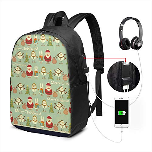 Bolsa de Viaje multifunción para portátil de Viaje, Mochila de Lona con Puerto de Carga USB y Orificio para Auriculares para Adolescentes, niñas, niños, Fondo de Navidad Vintage