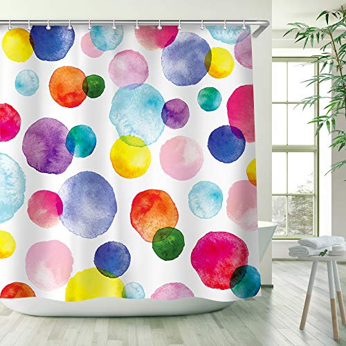 RosieLily Watercolor Polka Dot Circles Shower Curtain, Kids Shower Curtain Set with 12 Hooks, Waterproof Washable Decor Bathroom Shower Curtain, 72 x 72 inches, Purple and Orange and Blue