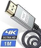 Cable HDMI 4 K 1 m - Cable HDMI 2.0 de alta velocidad de 18 Gbps, cable HDMI 2.0 de nailon trenzado, compatible con 3D, retorno de audio, reproductor de Blu-Ray, televisor, monitor Ultra HD PS3 y PS4