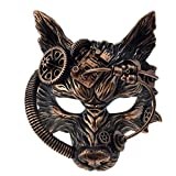 Storm buy] Steampunk Wolf Metallic Mask Mad Scientist Time Traveler Animal Masquerade Halloween Costume Cosplay Party mask (Metallic Copper)