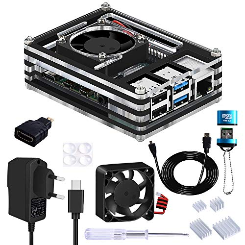 GeeekPi Raspberry Pi 4 Custodia con Ventola,5V 3A USB-C Alimentazione Elettrica,Raspberry Pi dissipatore,Micro HDMI Cavo,Micro HDMI-HDMI Cavo Adattatore,USB Lettore per Raspberry Pi 4 Modello B