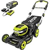 RYOBI RY40LM10-Y 21 in. 40-Volt Brushless Lithium-Ion Cordless Smart Trek Self-Propelled Walk Behind Mower with 6.0Ah Battery and Charger