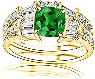 2.83 Carat t.w 14K White Gold Baguette And Round Brilliant Diamond Engagement Ring and Wedding Band Set w/a 2 Carat Cushion Cut Green Emerald Heirloom Quality