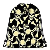 IUBBKI Rucksack Sport Sporttasche Evil Skull mit Knochen Warnschild für Damen Herren Kinder Large Size