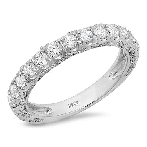 Clara Pucci 3.30 CT Round Cut CZ Pave Set Bridal Wedding Engagement Band Ring 14k White Gold, Size 8.75