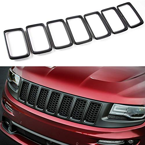 JeCar Front Grill Grille Inserts for 2014-2016 Jeep Grand Cherokee, Black (7Pcs)