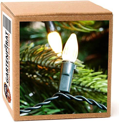 Baum-Lichterkette 20m mit 200 Kerzen warmweiß Kabel/Strom innen außen mit Programme