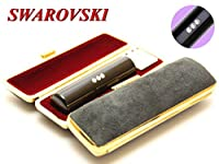 「スワロフスキー黒水牛印鑑12.0mm×60mmスウェードケース(ブラック)付き」 縦彫り 吉相体