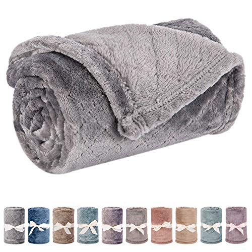 """Baby Blanket or Pet Blanket, Comfy Soft Warm Blankets for Baby Girls and Boys, Dog and Cat, Plush Fleece Throw Blankets for Sofa, Couch, Travel and Camping (Grid 28"""" x 40"""", Grey)"""