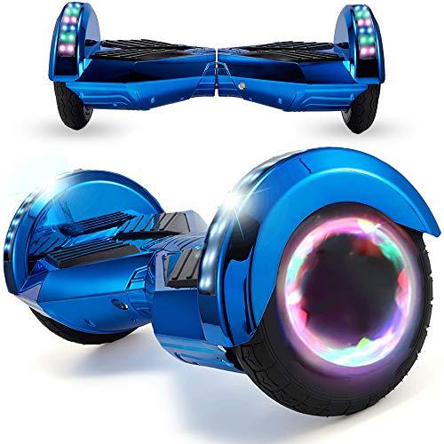 Magic Vida Patinete Eléctrico Overboard 8 Pulgadas,Motor de 700W,Batería 4.4AH,Altavoz de música Bluetooth,Auto-Equilibrio,Luz LED,Scooter Electrico para Niños y Adultos(Azul Cromo)