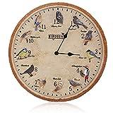 Reloj de pared retro, con diseño de pájaros británicos, 30 x 30 x 4,3 cm, para sala de estar, dormitorio, cocina, exterior, jardín (material de resina avanzada)
