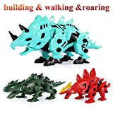 TEMI Construction Walking Dinosaur Toy, Build and Take Apart Triceratops 3D Model with Roaring Sound, Convert into Stegosaurus or Lizard, DIY Assemble Electronic Robotic Dino Building Playset for Kids