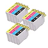 12 (3 Sets of 4) High Capacity Compatible Ink Cartridges for Epson Stylus Printers 3x T1291 Black, 3x T1292 Cyan, 3x T1293 Magenta, 3x T1294 Yellow