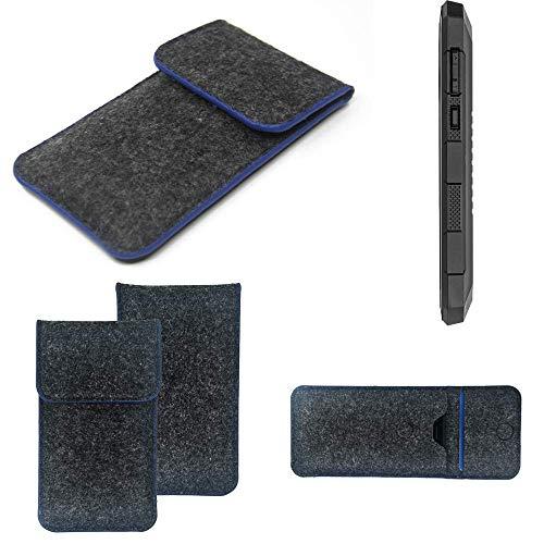 K-S-Trade Handy Schutz Hülle Für Cyrus CS 24 Schutzhülle Handyhülle Filztasche Pouch Tasche Hülle Sleeve Filzhülle Dunkelgrau, Blauer Rand