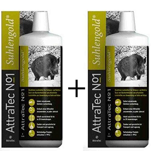 ATTRATEC 2 Stück No. 1 Suhlengold - Bioaktives Lockmittel für Schwarz- und Rotwild auf Basis von Buchenholzteer und pflanzlichen Lockstoffen zur Anwendung an Suhle und Malbaum.