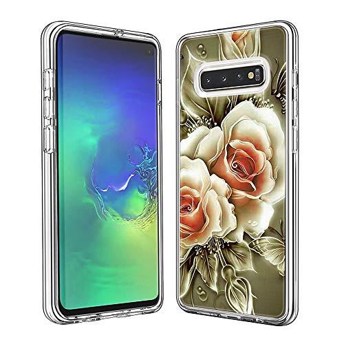 Coque Samsung Galaxy S10, Silicone Bumper, Transparent PC + TPU Hybride Boîtier de Protection avec Carte de Mode (Rose)