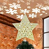 Yostyle Christmas Tree Topper Lighted Star Tree Topper with LED Rotating Snowflake Projector Lights,3D Hollow Golden Star Snowflake...