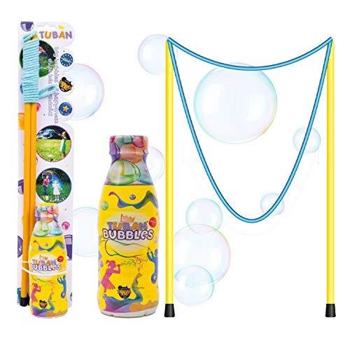 Tuban Pomperos para Niños - Varita para Hacer Pompas de Jabón Gigantes 50cm con liquido pompas 400ml - Pompas de Jabón para Niños Gigantes - Kit para Burbujas de Jabón Niños - Pompero Niños Gigantes
