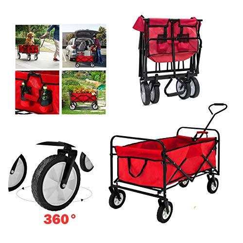 Huini Handwagen Faltbarer Bollerwagen klappbar Gartenanhänger für Ausflüge & Festivals Transportwagen Strandwagen Transportkarre 360°Drehbar (Rot ohne Dach)