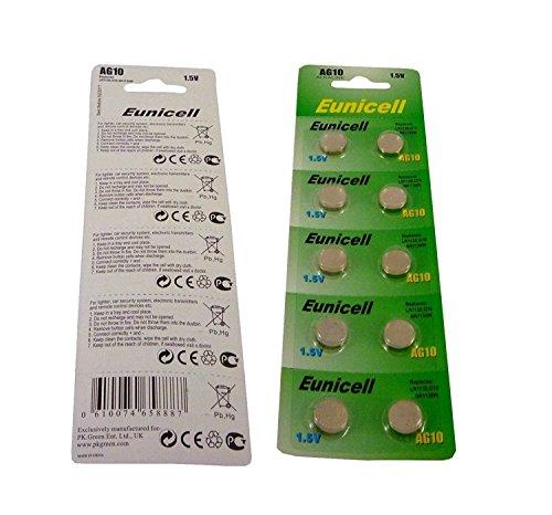 20 AG10 1.5V Alkaline Batterien - Ersetzt SR1130, SR54, SR1131, 389, 390 - 1 Pack