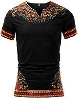 HongyuAmy Mens African Print Shirt Dashiki Traditional T-Shirts Dashiki Clothing (XXXX-Large, Color A)
