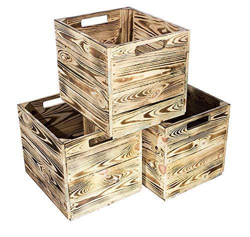 Kontorei® geflammte/gebrannte Holzkiste für Kallax Regal 33cm 37,5cm 32,5cm 9er Set Obstkiste Kiste Box