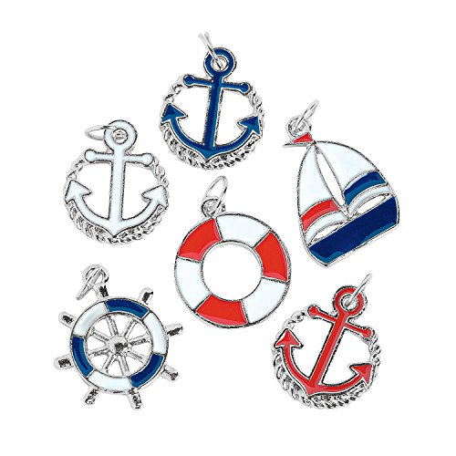 Fun Express - Patriotic Nautical Charms for Fourth of July - Craft Supplies - Adult Beading - Charms...