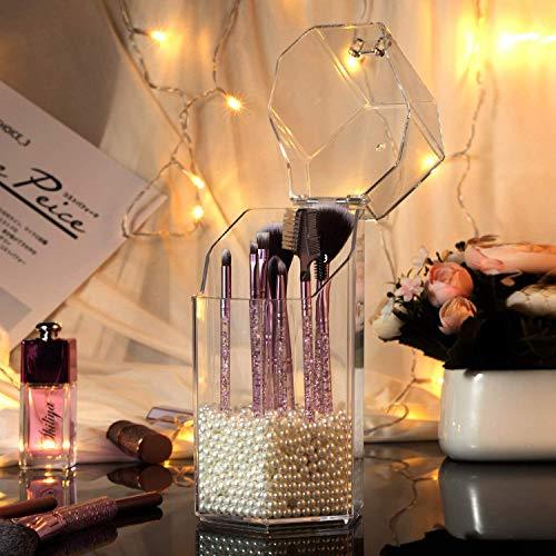 ZWOOS Organizador de Maquillaje, Bandeja de Cosméticos Caja Acrílica a Prueba de Polvo Estante de Maquillajes Organizador de Cosméticos Oraganizador Maquillaje Acrílica Grande con Perlas