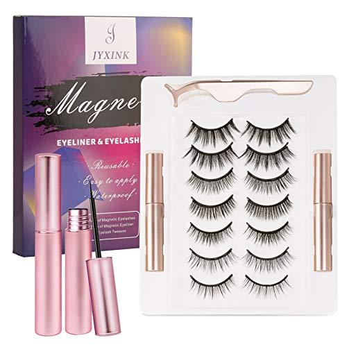 JYXINK Magnetic Eyelashes with Eyeliner Kit, 7 Pairs Reusable Magnetic Lashes Set with Applicator, Most Natural Look False Eyelashes and 2 Tubes Magnetic Eyeliner