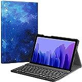 Fintie Tastatur Hülle für Samsung Galaxy Tab A7 10.4'' 2020 (SM-T500/T505/T507), Superdünn leicht Schutzhülle mit magnetisch Abnehmbarer drahtloser Deutscher QWERTZ Bluetooth Tastatur, Sternenhimmel