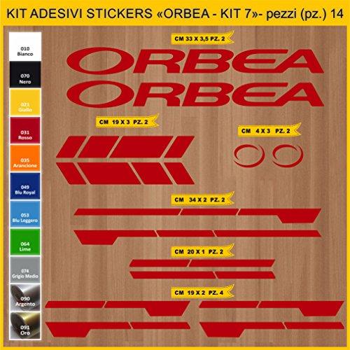 Adesivi Bici ORBEA - Kit 7- Kit Adesivi Stickers 14 Pezzi -Scegli SUBITO Colore- Bike Cycle pegatina cod.0936 (031 Rosso)