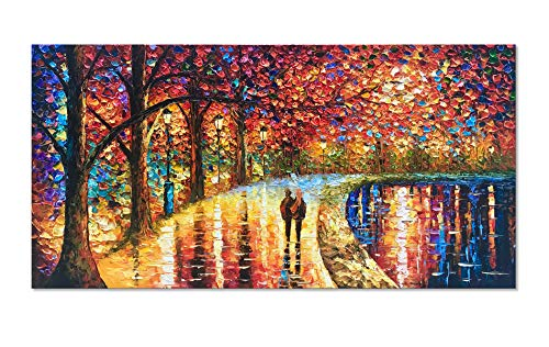 Diathou 24 x 48 inch Romantic Night - Modern Abstract Mural, Wall Art Hand-Painted Oil Painting, Wall Decoration Canvas Art Painting, Living Room Decoration,Hang up Anytime