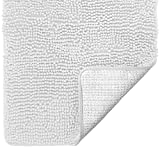 Gorilla Grip Original Luxury Chenille Bathroom Rug Mat, 44x26, Extra Soft and Absorbent Large Shaggy Rugs, Machine Wash Dry, Perfect Plush Carpet Mats for Tub, Shower, and Bath Room, White