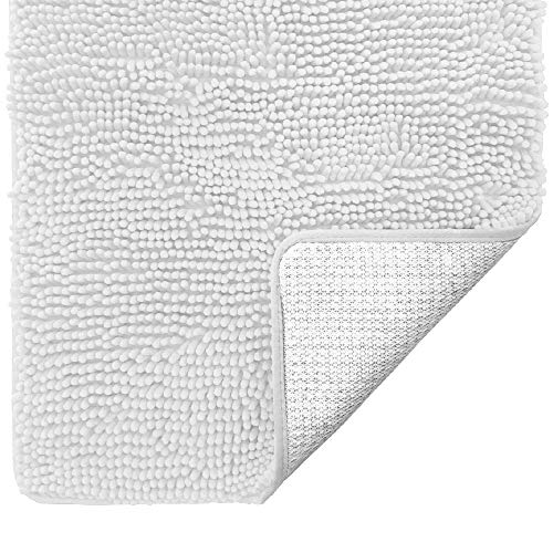 Gorilla Grip Original Luxury Chenille Bathroom Rug Mat, 30x20, Extra Soft and Absorbent Shaggy Rugs, Machine Wash Dry, Perfect Plush Carpet Mats for Tub, Shower, and Bath Room, White