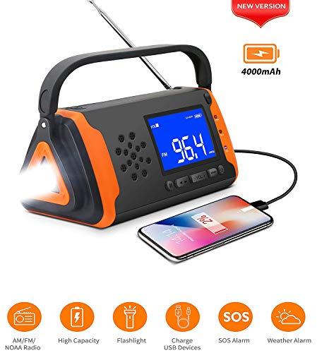 LNLJ Crank Up Solar Notfall Wetter Radio, Kurbel-Dynamo-4000Mah Mit LED-Taschenlampe, Musik Play, USB-Handy-Ladegerät, SOS Alarm, Für Not- Und Gefahren