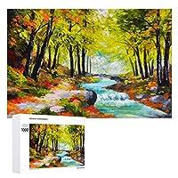 風景油絵川 木製パズル大人の贈り物子供の誕生日プレゼント(50x75cm)1000ピースのパズル
