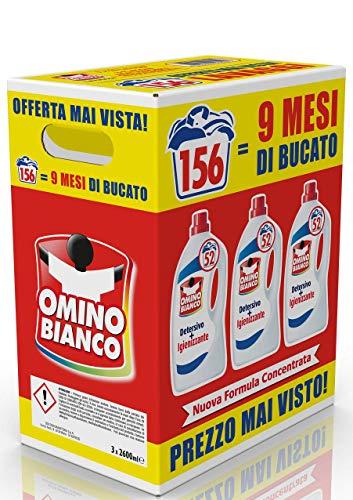 Omino Bianco – Detersivo Lavatrice Igienizzante Liquido, Igienizza i Capi e Rimuove Germi e Batteri, 156 Lavaggi, 2600 ml x 3 Confezioni