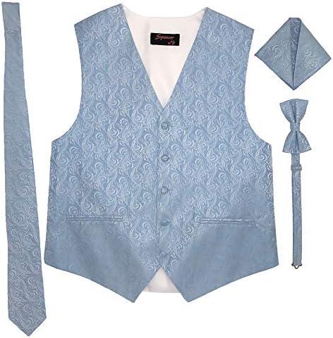 Spencer J s Men s Formal Tuxedo Suit Vest Imperial Tie Bowtie and Pocket Square 4 Peace Set product image