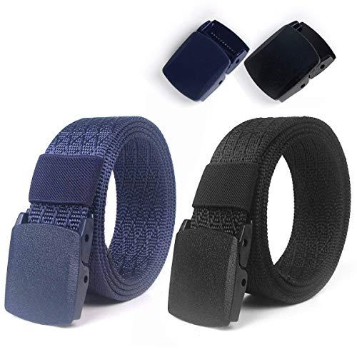 lalafancy Cinghia da 2 paia di nylon Cintura da cintura militare regolabile in vita da uomo Cintura traspirante regolabile Cintura da esterno senza fibbia metallica (Nero + Blu)