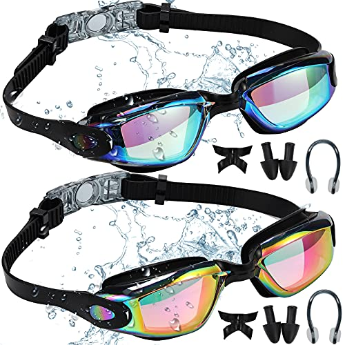 BKMPOB Swim Goggles Men, 2 Pack Swimming Goggles for Women Adult Youth Kids Anti-Fog No Leaking UV Protection