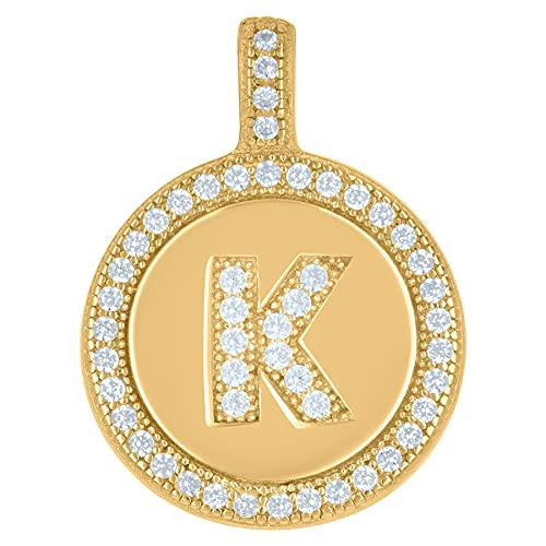 Collar con colgante de plata de ley 925 con circonita cúbica unisex con nombre de letra de monograma personalizable con inicial del alfabeto K disco