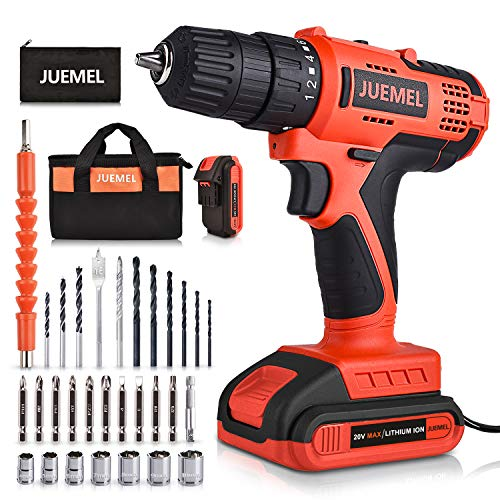 Cordless Drill 20V with 2 Batteries JUEMEL Power Drill Set with 3/8 inches Keyless Chuck 2Variable Speed 181 Clutch and 30pcs Drill/Driver Bits Accessories
