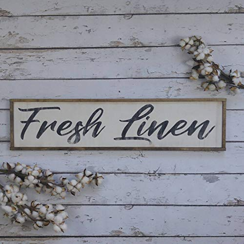 DKISEE Fresh Linnen Sign, Farmhouse Decor, Laundry Sign, Farmhouse Signs, Wooden Sign, Custom Wood Sign, Kitchen Sign, Framed Wood Sign 5.9x20 inch